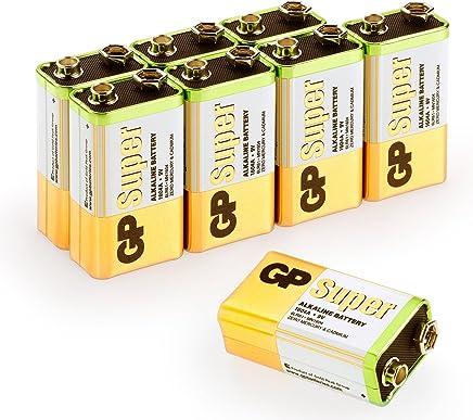 GP 9Volt Block Batterien (6LR61, MN1604, 9V E-Block) Spannung: 9 Volt Super Alkaline, geeignet für vielseitige Anwendungen (8 Stück Blockbatterien)