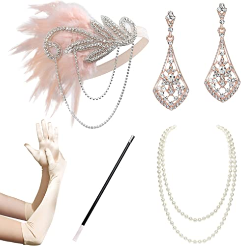 BABEYOND 1920s Flapper Accessories Gatsby Costume Accessories Set 20s Flapper Headband Pearl Necklace Gloves Cigarett...