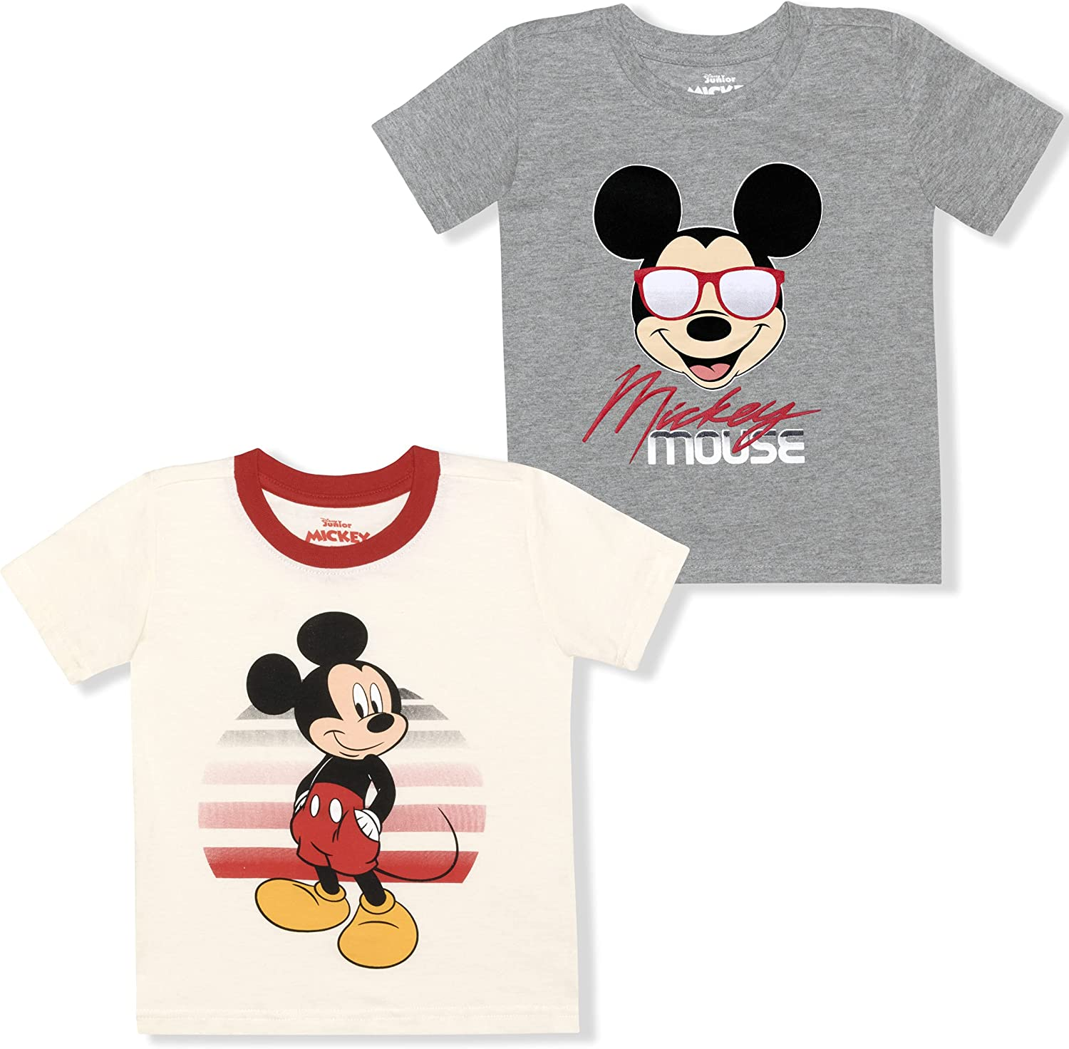 Disney Boy's 2-Pack Mickey Mouse Graphic Tee Shirt Set, 100% Cotton, White/Grey, 12 Months