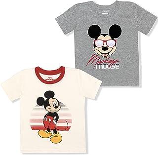 مجموعة تي شيرت Disney للأولاد قطعتين برسومات ميكي ماوس، قطن 100%، أبيض/رمادي، 12 شهرًا