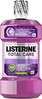 Listerine Total Care Anticavity Mouthwash, 6 Benefit Fluoride Mouthwash for Bad Breath and Enamel Strength, Fresh Mint Fla...