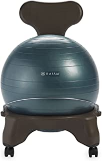Gaiam Classic Balance Ball Chair – Exercise Stability Yoga Ball Premium Ergonomic Chair for Home and Office Desk with Air ...