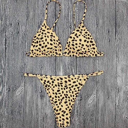 Wghz Pantalon de Bikini à imprimé léopard à Fines Bretelles, européen et américain