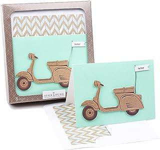 Hallmark 签名记事卡(金色花朵,8 张卡和信封) 滑板车