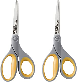 "Westcott 13901 8"" Straight Titanium Bonded Scissors, Gray/Yellow, 2 Per Pack"