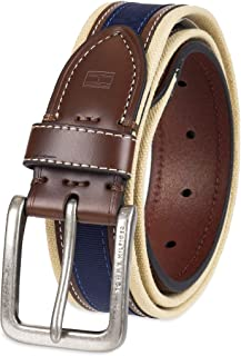 Tommy Hilfiger Men's Ribbon Inlay Fabric Belt with Single Prong Buckle