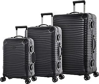 Eminent Gold Set di valigie Jetstream 3 pz Telaio in alluminio Protezione d'angolo extra Doppie serrature TSA Nero