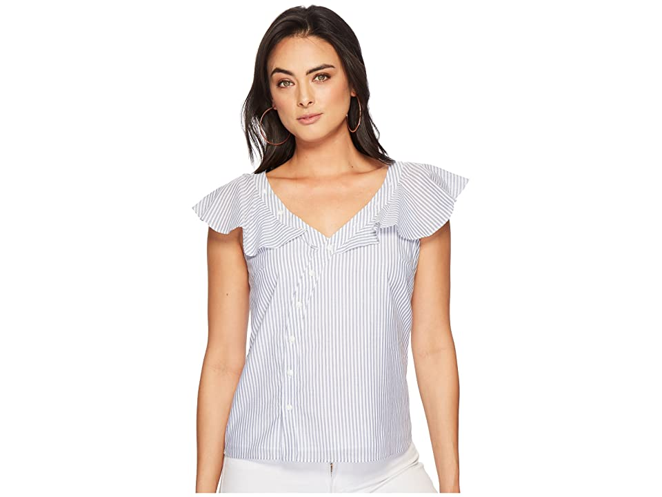 Image of 1.STATE Asymmetrical Button Front Blouse w/ Ruffle (Harbor Light) Women's Blouse
