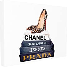 Stupell Industries Glam Fashion Book Set Leopard Pumps Heels Stretched Canvas Wall Art, Proudly Made in USA