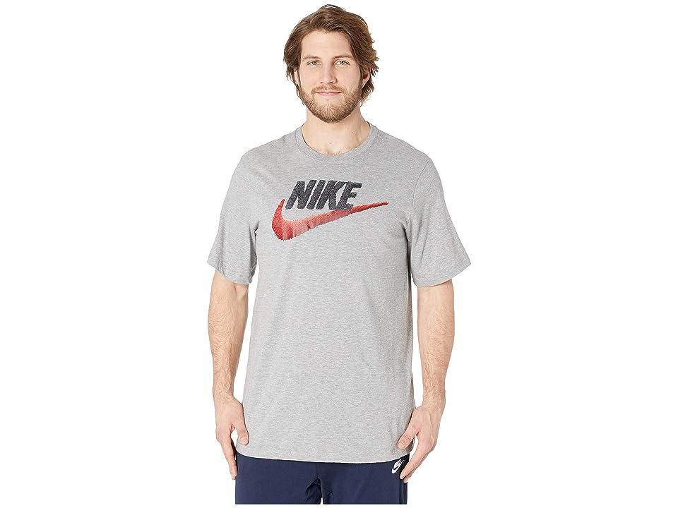 Nike Big Tall NSW Brand Mark Tee (Dark Grey Heather/White/University Red) Men