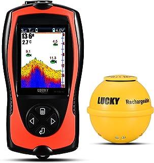 LUCKY Buscador de Peces Batería inalámbrica Fish Finder Buscador de Profundidad LCD de Alta Definición