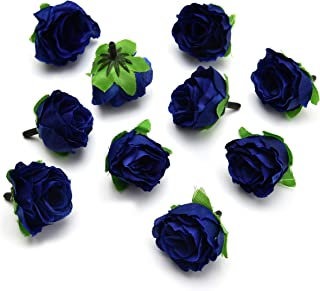 Fake flower heads in Bulk Wholesale for Crafts Artificial Silk Peony Flower Heads for Wedding Home Party Decoration DIY Bride Bouquet Mini Fake Flower 30pcs 4cm (Royal Blue)
