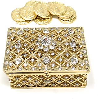 CB Accessories Wedding Unity Coins - Arras de Boda - Chest Box and Decorative Rhinestone Crystals Keepsake 75 (Gold)