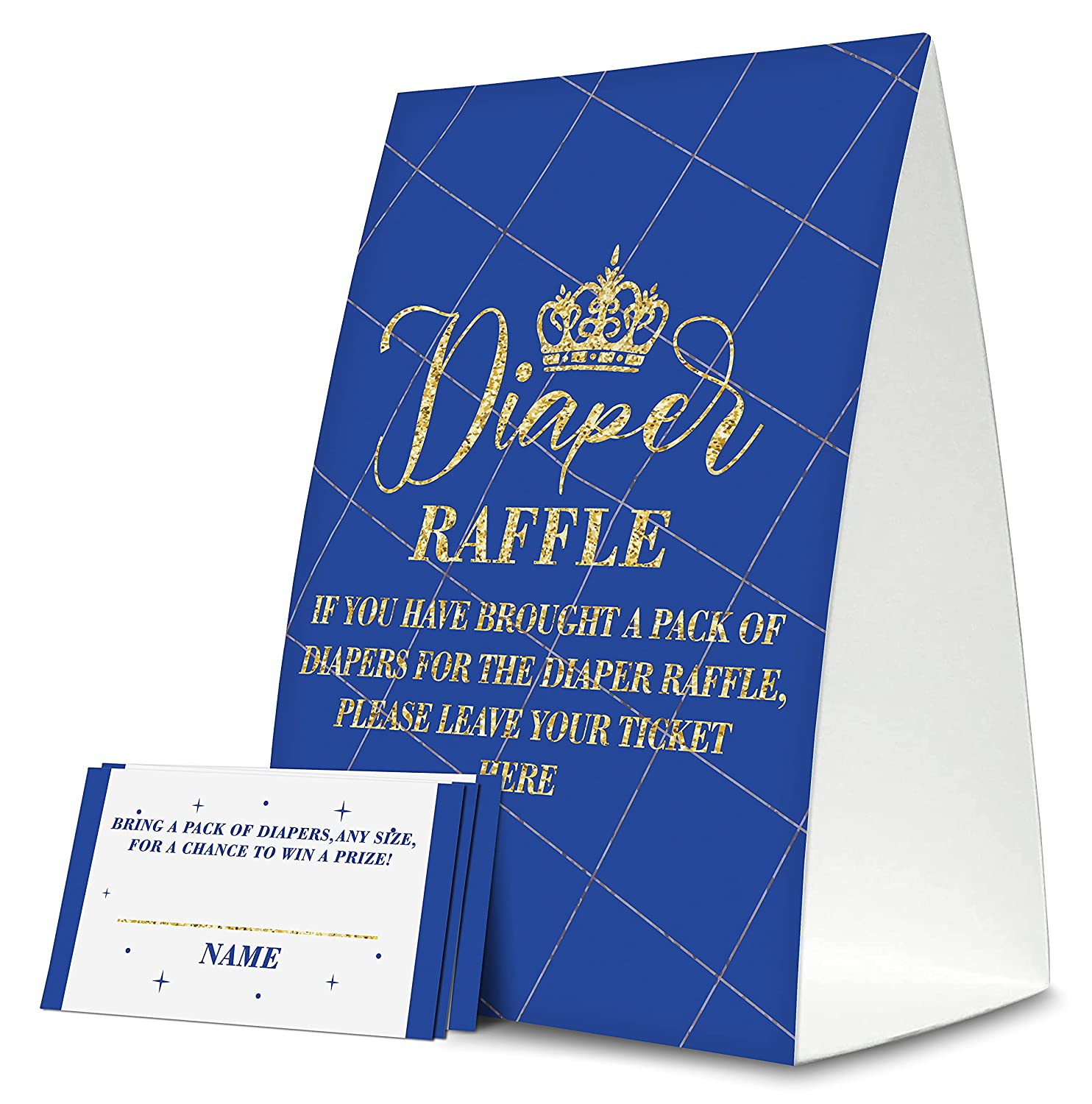 Royal Prince Diaper Raffle Tickets, for Boy Gold Crown Baby Shower Game Cards, 1 Sign & 50 Tickets, Prizes Game Supplies(A28)