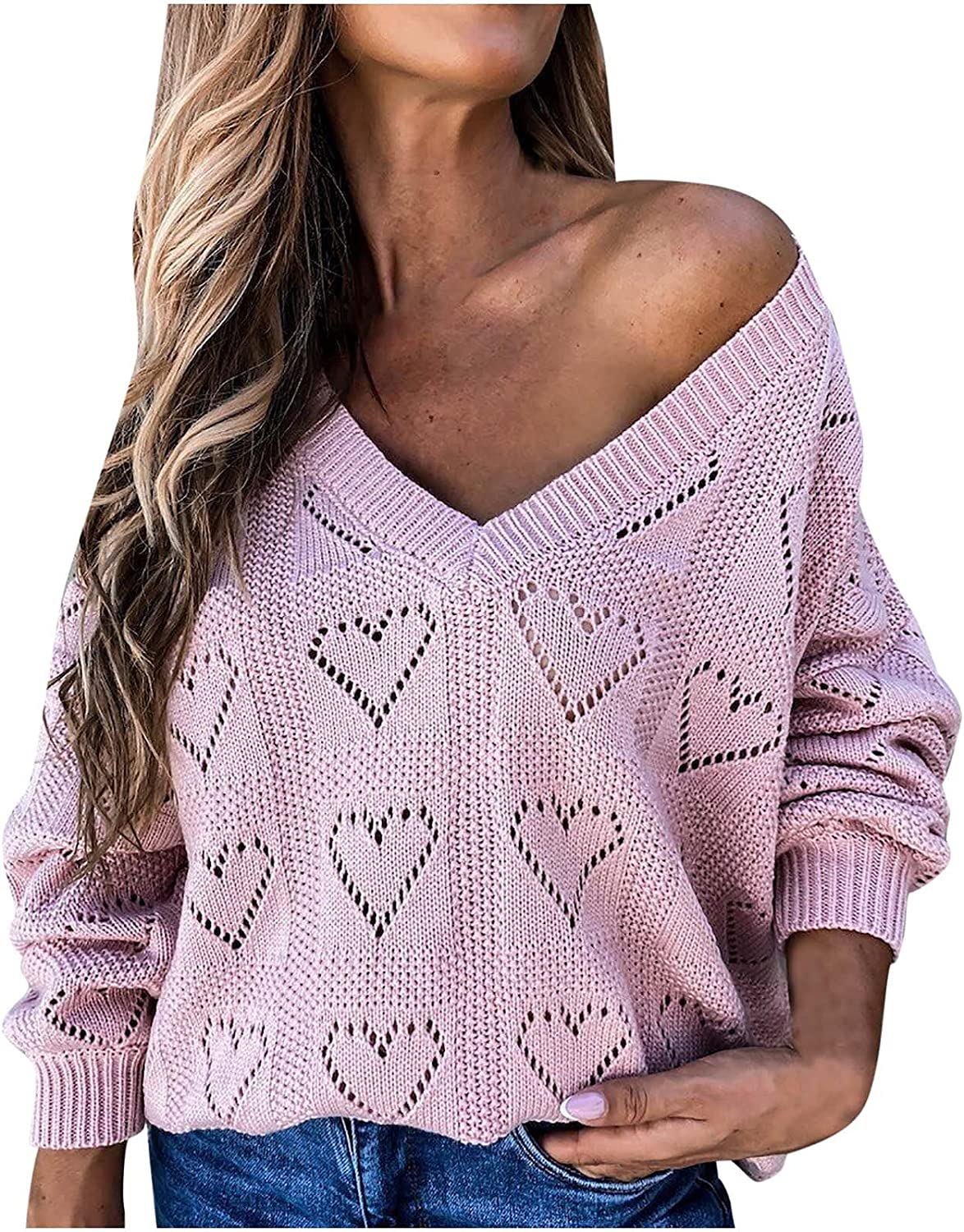 Kanzd Sweaters for Women Fashion Oversized Long Sleeve V Neck Heart-Shaped Hollow Out Loose Knitted Sweater Top Blouse