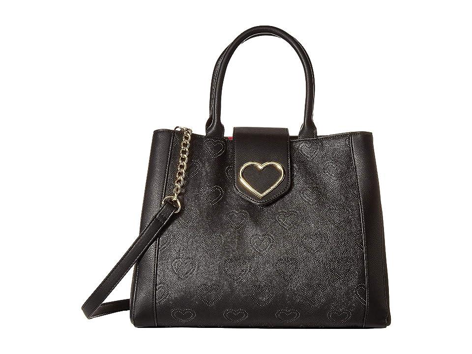 Betsey Johnson Embossed Satchel (Black) Handbags