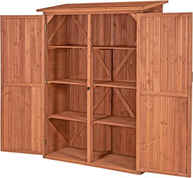 Leisure Season MCS5137 Multi Compartment Storage Cabinet - Brown - Indoor and Outdoor Shed for Garden, Patio, Shed, Backyard, Front Porch, Garage - Tool Organizer and Furniture with Shelves, Cabinets