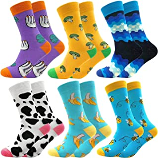 Facefuture, Calcetines de algodón coloridos, divertidos y fantásticos patrones felices calcetines Crew