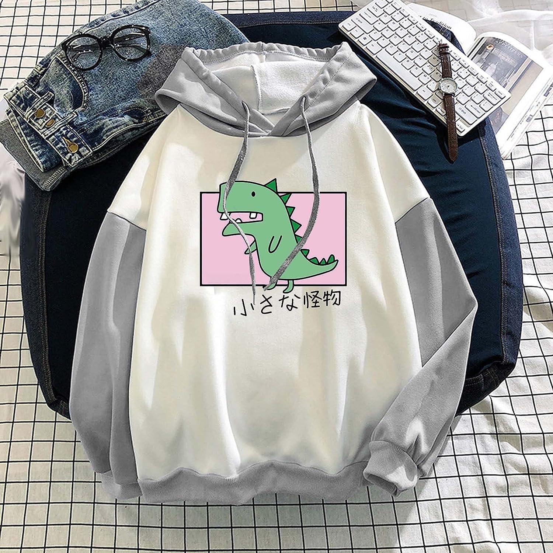 Womens Casual Loose Hoodies Funny Cute Sweatshirt Ladies Long Sleeve Tee Shirt Dinosaur Graphic Pullover Tops
