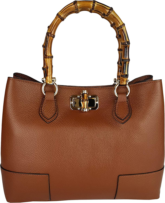 Bamboo Handle Handbag Genuine Leather Shoulder Bag Brown Made In