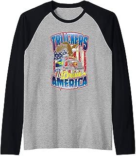 Truckers Drive America Trucker Dad US Flag Fathers Day Gift Raglan Baseball Tee