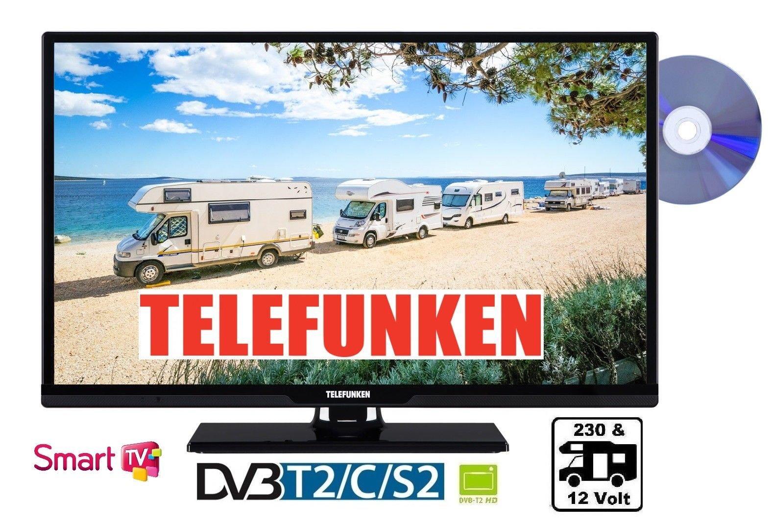 Telefunken 24 pulgadas 61 cm 12 – 24 V & 230 V DVB-C/S2/T2 HD Reproductor de DVD camping 12 V SMART TV: Amazon.es: Electrónica