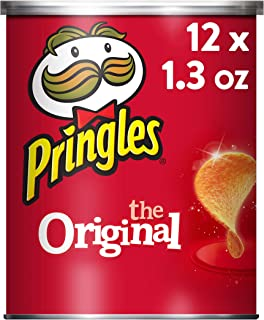 Pringles The Original Potato Crisps - Salty Snacks, School Lunch Food, Single Serve 1.3 oz Can (Pack of 12)