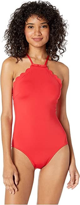 4ae0870a1fc01 Core Solids  79 Scalloped High Neck One-Piece w  Removable Soft Cups. Like  25. Kate Spade New York