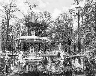 Restored Black & White Photo - Historic Savannah, Georgia - Fountain in Forsyth Park, c1895-60in x 44in