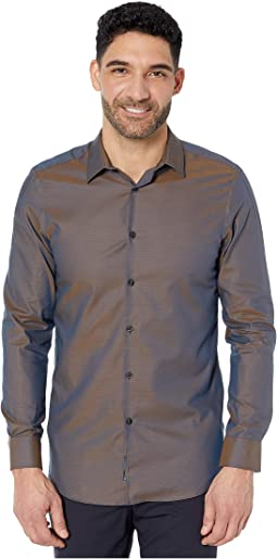 Slim Fit Dobby Solid Resist Spill Shirt