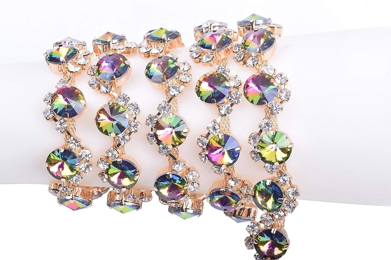 KAOYOO 1 Yard Crystal Rhinestone Claw Chain S Shape Winding Rainbow Satellite Stone for Jewelry Crafts DIY,Sewing Craft