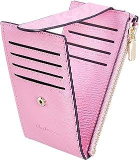 Chelmon Womens Walllet Slim RFID Blocking Bifold Multi Card Case Wallet with Zipper Pocket (Pink)