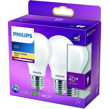 Philips ampoule LED Standard E27 40W Blanc Chaud Dépolie, Verre, lot de 2
