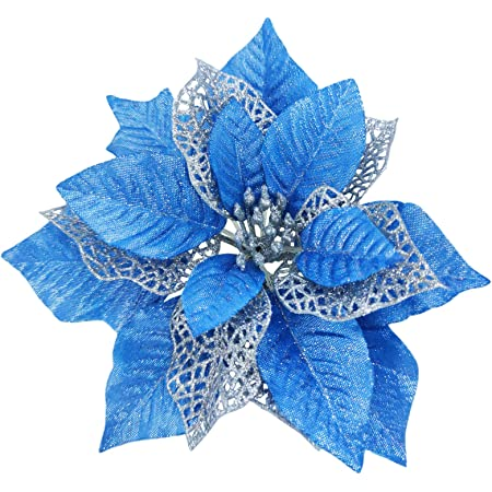 12 Glittery Christmas Poinsettia Picks Plastic Flowers Ornaments Decorations