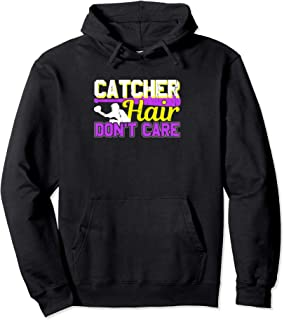 Softball Catcher Hair Dont Care Fastpitch Girl Player Hoodie