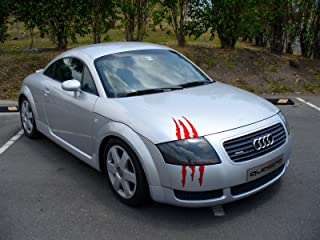 ViaVinyl Claw Marks Headlight Decal Available in Twelve Colors!. Genuine Brand Vinyl Sticker/Decal for Sports Cars (Red)