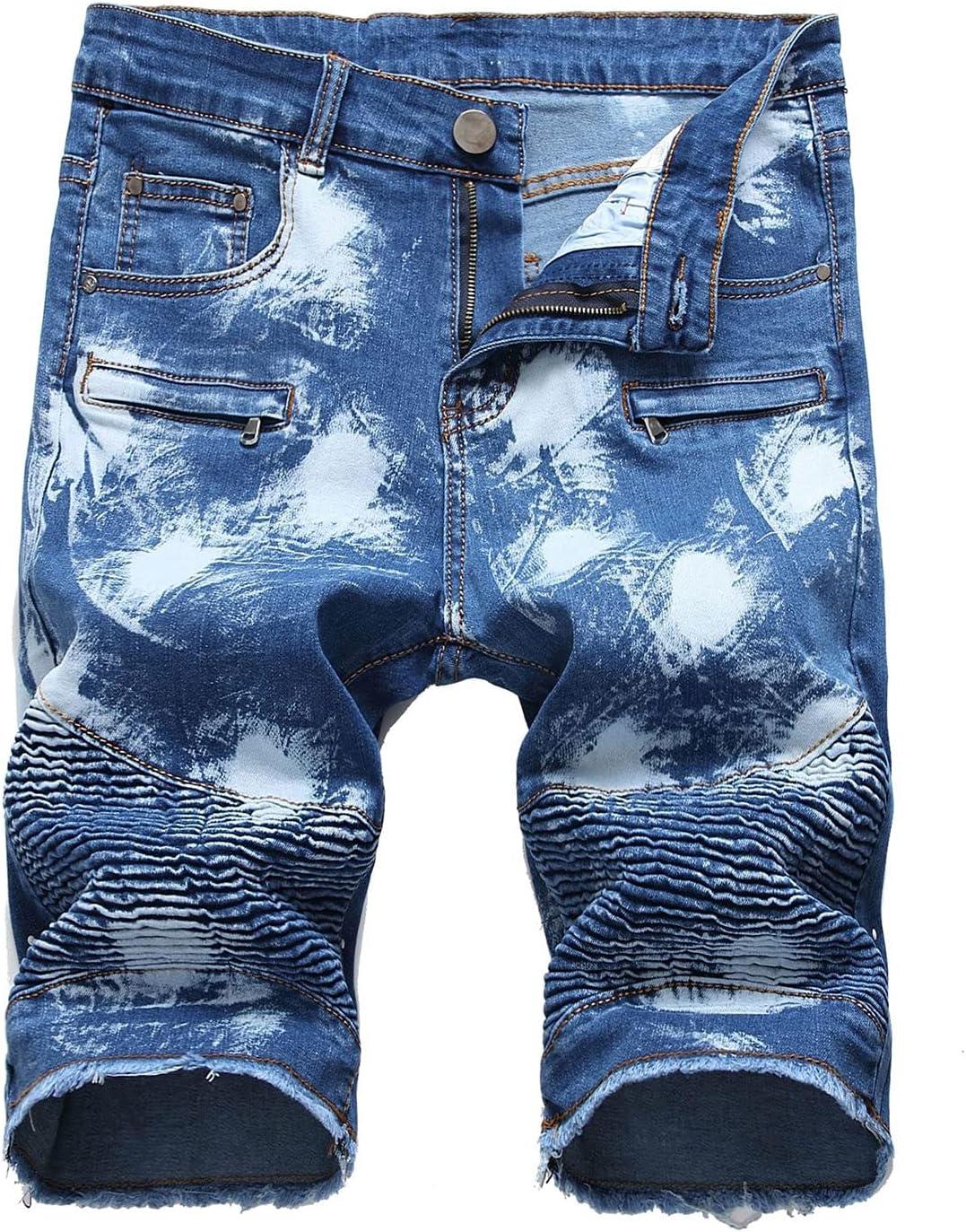 Men's Slim Folds Ripped Jeans Short Straight Fit Zipper Decoration Denim Short-pant Casual Biker Distressed Shorts Jean (Blue 1,30)