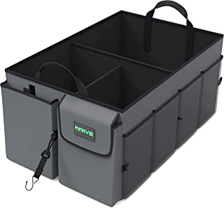Drive Auto Products Car Trunk Storage Organizer - Collapsible Multi-Compartment - Adjustable Securing Straps