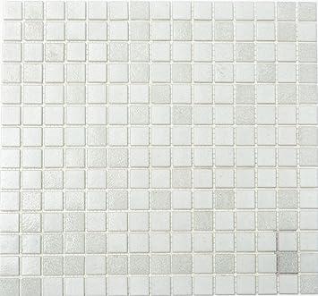 mosaico piastrelle di rete parete Mix Bianco Mosaico di vetro con effetto faretti parete quadrato cucina bagno WC