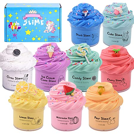 Summerdays 5 Pack Birthday Cake Theme Butter Slime Set with Cake Slime Birthday Gift for Boys and Girls Blue Coffee Slime and Candy Slime Coffee Slime,Unicorn Slime