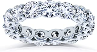 Round Brilliant-cut Prong-set Eternity Moissanite Wedding Band 5 Carats TGW in 14k White Gold