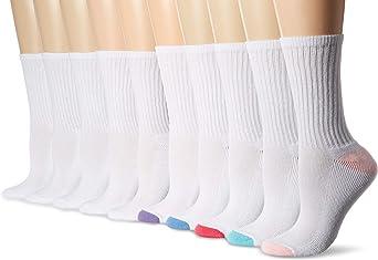 Amazon Essentials Calcetines de algodón ligeramente acolchados para mujer, paquete de 10