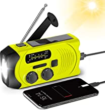 Emergency Hand Crank Solar Radio AM/FM NOAA Weather Radio with Bright Flashlight, 2000mAh Rechargeable Battery Operated, Backup Power Bank, SOS Alarm for Outdoor Emergency Radio(Yellow)