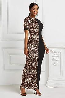 FDBZ Elegant Leopard Print Patchwork Long Dress Summer Short Sleeve O neck Stretchy Maxi Dress Women Hips Plus Size|Dresses,YD5251-3 Leopard,5XL