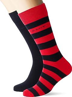 Gant, D1.2-pack Barstripe And Solid Sock Calcetines, Rojo (Bright Red 620), Talla Única (talla del fabricante: Oversize) para Hombre
