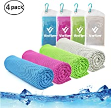 "Cooling Towel,Vofler 4 Pack Cool Towels Microfiber Chilly Ice Cold Head Band Bandana Neck Wrap (40""x 12"") for Athletes Men Women Youth Kids Dogs Yoga Outdoor Golf Running Hiking Sports Camping Travel"