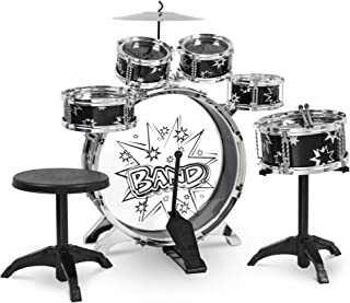 Best Choice Products 11-Piece Kids Starter Drum Set for Beginner Learning, Motor Development, Creativity, Musical Skill w/ Bass Drum, Tom Drums, Snare, Cymbal, Stool, Drumsticks - Black
