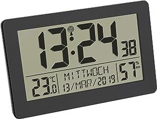 TFA Dostmann Reloj de Pared Digital controlado por Radio, Pantalla Grande, indicador de Temperatura, Fecha, día de la Sema...