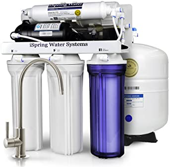 iSpring RCC7P Boosted Performance Under Sink 5-Stage Reverse Osmosis Drinking Filtration System with Pump and Ultimat...