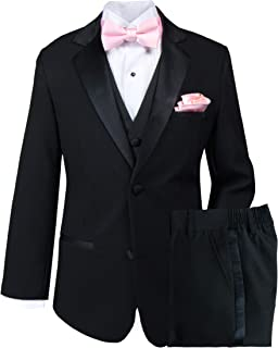 Spring Notion Big Boys' Tuxedo Set with Bow Tie and Handkerchief